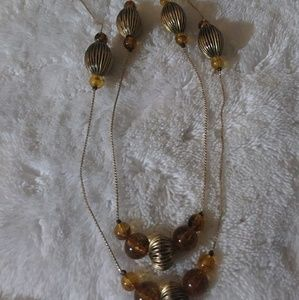Beautiful Brass Necklace with Amber Stones🌷